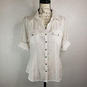 White House Black Market sz10 blouse button down